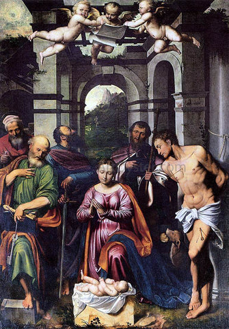 Callisto Piazza Da Lodi The Adoration of the Christ Child with Saints - Hand Painted Oil Painting