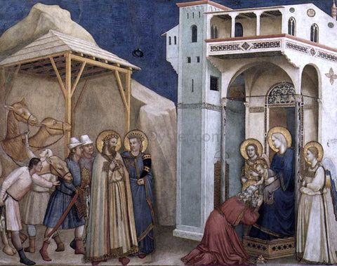 Giotto Di Bondone The Adoration of the Magi (North transept, Lower Church, San Francesco, Assisi) - Hand Painted Oil Painting