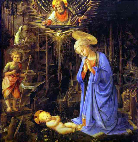 Fra Filippo Lippi The Adoration, with the Infant Baptist and St. Bernard - Hand Painted Oil Painting
