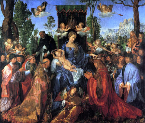 Albrecht Durer The Altarpiece of the Rose Garlands - Hand Painted Oil Painting