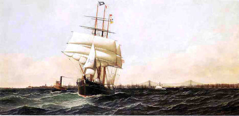 "Antonio Jacobsen The ""American"" Leaving New York Harbor - Hand Painted Oil Painting"