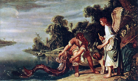Pieter Lastman The Angel and Tobias with the Fish - Hand Painted Oil Painting