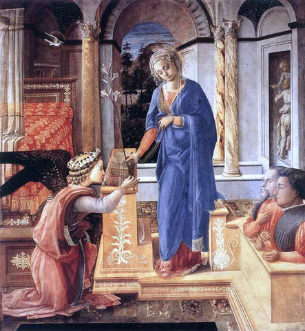 Fra Filippo Lippi The Annunciation with Two Kneeling Donors - Hand Painted Oil Painting