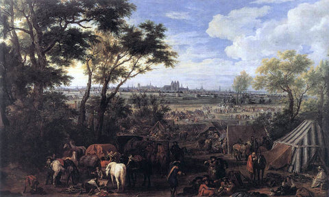 Adam Frans Van Der Meulen The Army of Louis XIV in Front of Tournai in 1667 - Hand Painted Oil Painting