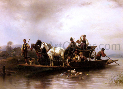 Wilhelm Alexander Meyerheim The Arrival of the Ferry - Hand Painted Oil Painting