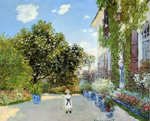 Claude Oscar Monet The Artist's House at Argenteuil - Hand Painted Oil Painting