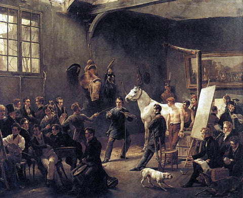 Horace Vernet The Artist's Studio - Hand Painted Oil Painting