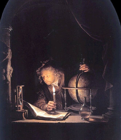 Gerrit Dou The Astronomer by Candlelight - Hand Painted Oil Painting