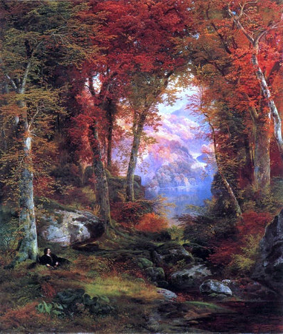 Thomas Moran Autumnal Woods (also known as Under the Trees) - Hand Painted Oil Painting