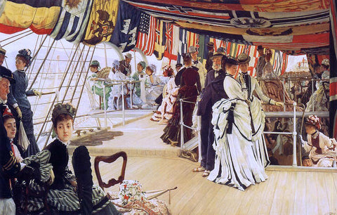 James Tissot The Ball on Shipboard - Hand Painted Oil Painting
