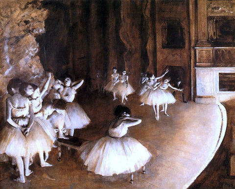 Edgar Degas The Ballet Rehearsal on Stage - Hand Painted Oil Painting