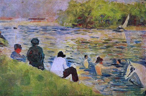 Georges Seurat The Bank of the Seine - Hand Painted Oil Painting