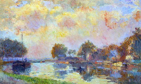 Albert Lebourg The Banks of the Canal at Charenton, Sunny Autumn Afternoon - Hand Painted Oil Painting