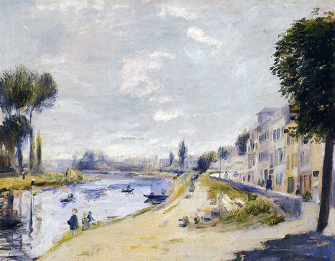 Pierre Auguste Renoir The Banks of the Seine, Bougival - Hand Painted Oil Painting