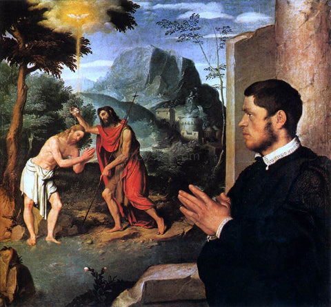 Giovanni Battista Moroni The Baptism of Christ with a Donor - Hand Painted Oil Painting