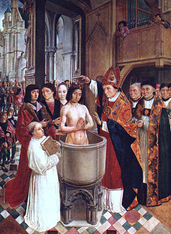 Master Saint Gilles The Baptism of Clovis - Hand Painted Oil Painting