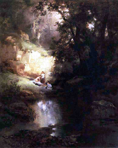 Thomas Moran The Bathers - Hand Painted Oil Painting