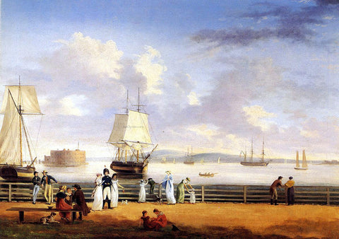 Thomas Birch The Battery and Harbor, New York - Hand Painted Oil Painting