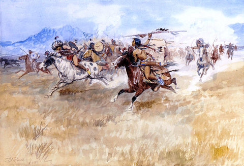 Charles Marion Russell The Battle Between the Blackfeet and the Piegans - Hand Painted Oil Painting