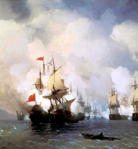 Ivan Constantinovich Aivazovsky The Battle in the Chios Channel - Hand Painted Oil Painting