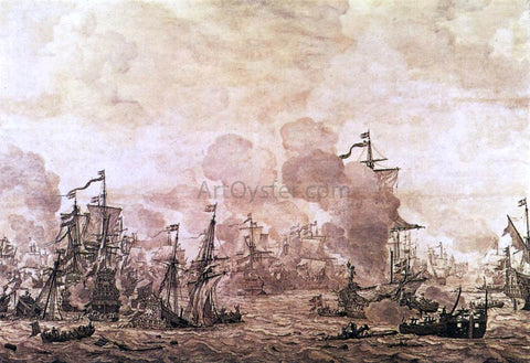 The Elder Willem Van de  Velde The Battle of the Sound - Hand Painted Oil Painting