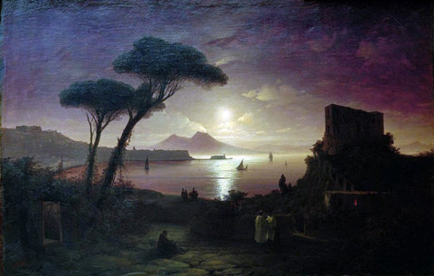 Ivan Constantinovich Aivazovsky The Bay of Naples at Moonlit Night - Hand Painted Oil Painting