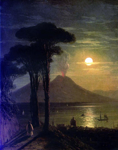 Ivan Constantinovich Aivazovsky The Bay of Naples at Moonlit Night, Vesuvius - Hand Painted Oil Painting