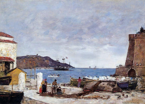 Eugene-Louis Boudin The Bay of Villefranche, the Port - Hand Painted Oil Painting