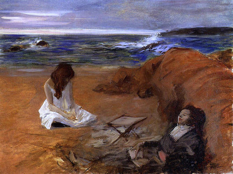 Jean-Louis Forain The Beach - Hand Painted Oil Painting