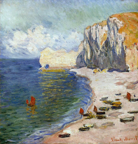 Claude Oscar Monet The Beach and the Falaise d'Amont - Hand Painted Oil Painting