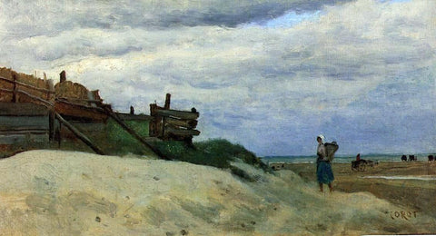 Jean-Baptiste-Camille Corot The Beach at Dunkirk - Hand Painted Oil Painting