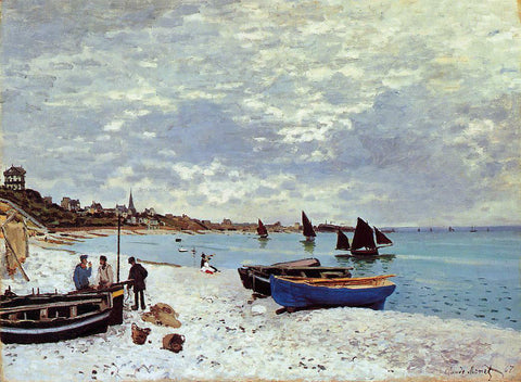 Claude Oscar Monet The Beach at Sainte-Adresse - Hand Painted Oil Painting