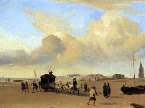 Eugene-Louis Boudin The Beach at Scheveningen (after Adriaen van de Valde) - Hand Painted Oil Painting