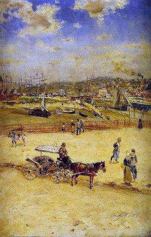 Jean-Francois Raffaelli The Beach at Trouville - Hand Painted Oil Painting