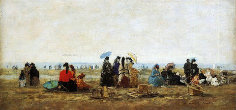 Eugene-Louis Boudin The Beach at Trouville - Hand Painted Oil Painting