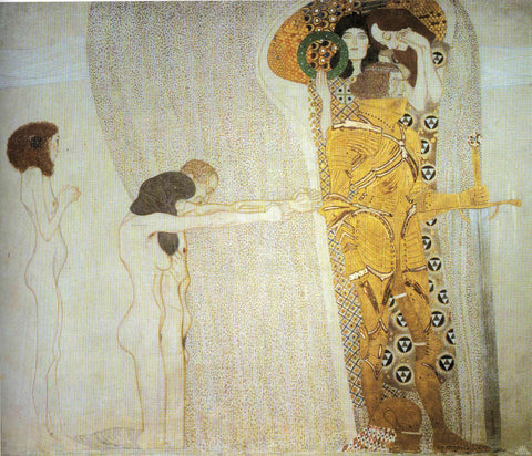 Gustav Klimt The Beethoven Frieze the Longing for Happiness Left Wall - Hand Painted Oil Painting