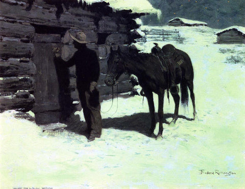 Frederic Remington The Belated Traveler - Hand Painted Oil Painting
