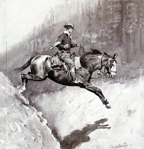 Frederic Remington The Bell-Mare Over a Bad Place - Hand Painted Oil Painting