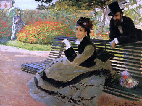 Claude Oscar Monet A Bench (also known as Camille Monet on a Garden Bench) - Hand Painted Oil Painting