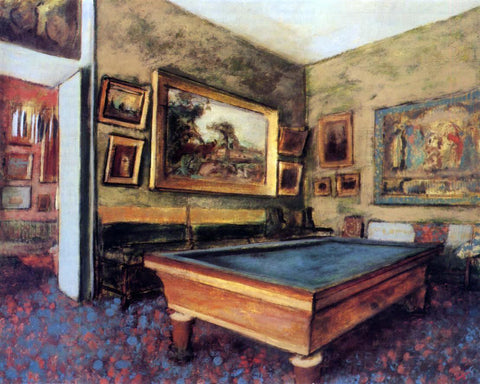 Edgar Degas A Billiard Room at Menil-Hubert - Hand Painted Oil Painting