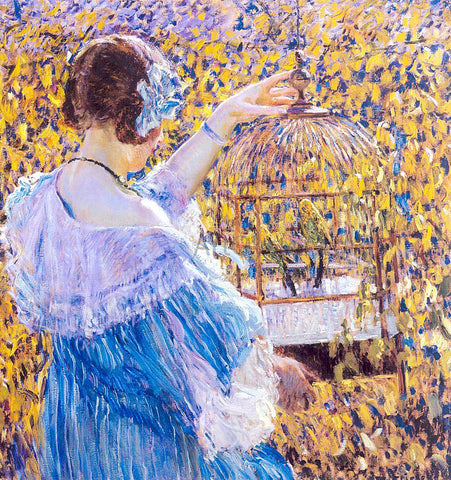 Frederick Carl Frieseke The Birdcage - Hand Painted Oil Painting