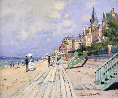 Claude Oscar Monet The Boardwalk at Trouville - Hand Painted Oil Painting