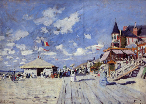 Claude Oscar Monet The Boardwalk on the Beach at Trouville - Hand Painted Oil Painting