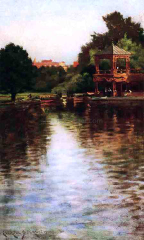 James Carroll Beckwith The Boathouse in Central Park - Hand Painted Oil Painting