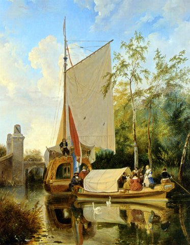 Wijnandus Josephus Nuyen The Boating Party - Hand Painted Oil Painting
