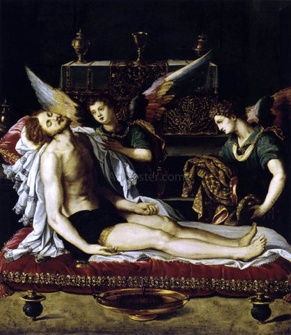 Alessandro Allori The Body of Christ with Two Angels - Hand Painted Oil Painting
