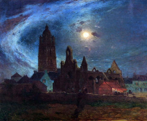Ferdinand Du Puigaudeau The Bourg-de-Batz Church under the Moon - Hand Painted Oil Painting