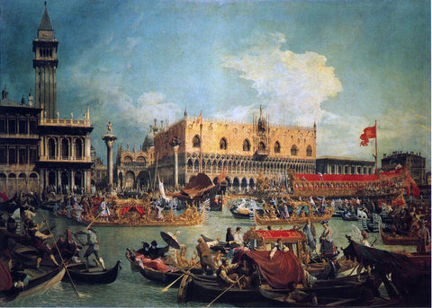 "Canaletto The ""Bucintgoro"" by the Molo on Ascension Day - Hand Painted Oil Painting"