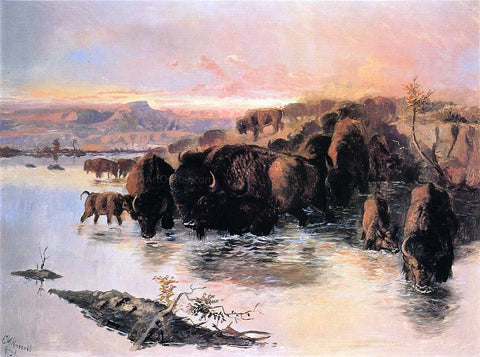 Charles Marion Russell The Buffalo Herd - Hand Painted Oil Painting