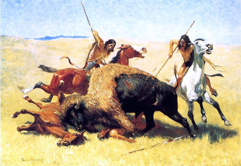Frederic Remington The Buffalo Hunt - Hand Painted Oil Painting